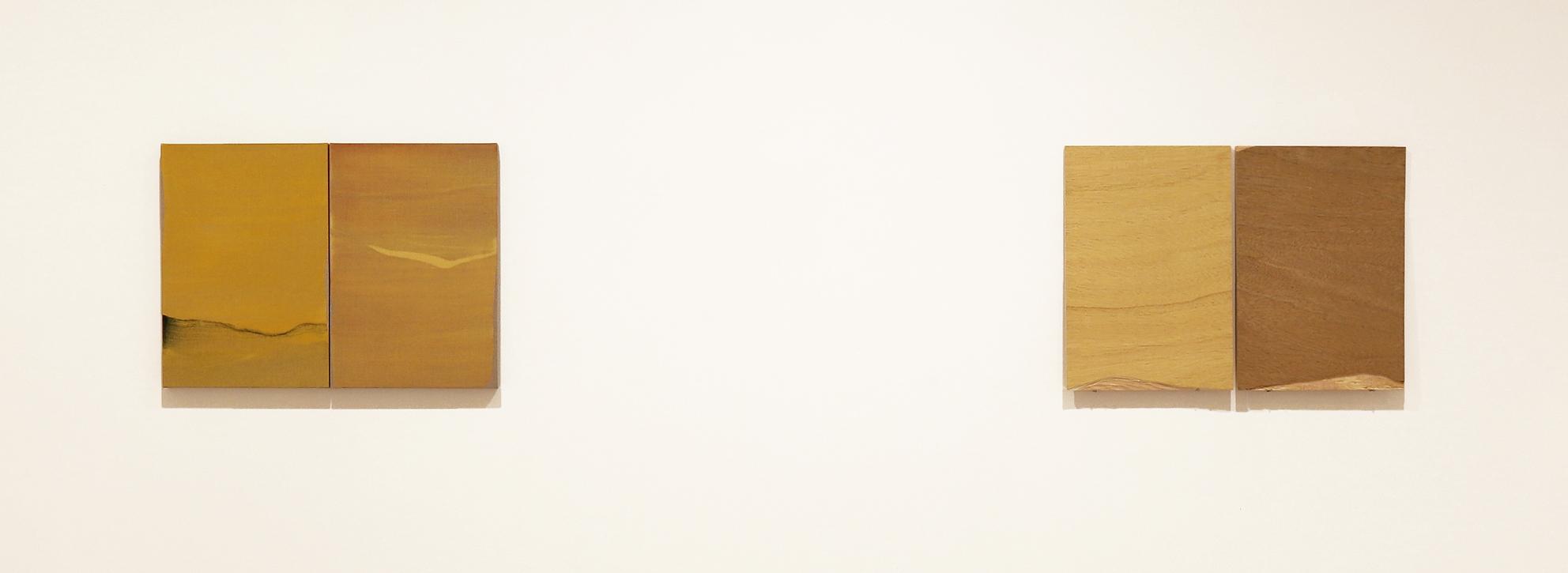 Vista de serie dispecto duo y origo. 2018. Acrílico, lino y madera. 50 x 68 cm. Nico Munuera